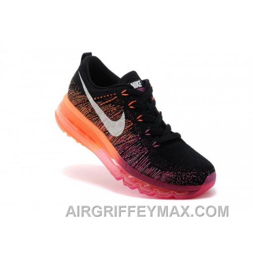 promo code e69f9 99b19 Hot Soldes Conduite Plus Ferme Femme Nike Air Max Flyknit Baskets Noir Rose  Orange 2016