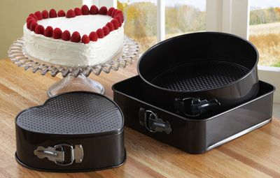 Set Of 3 Springform Cake Baking Pans Square Round Heart In Our