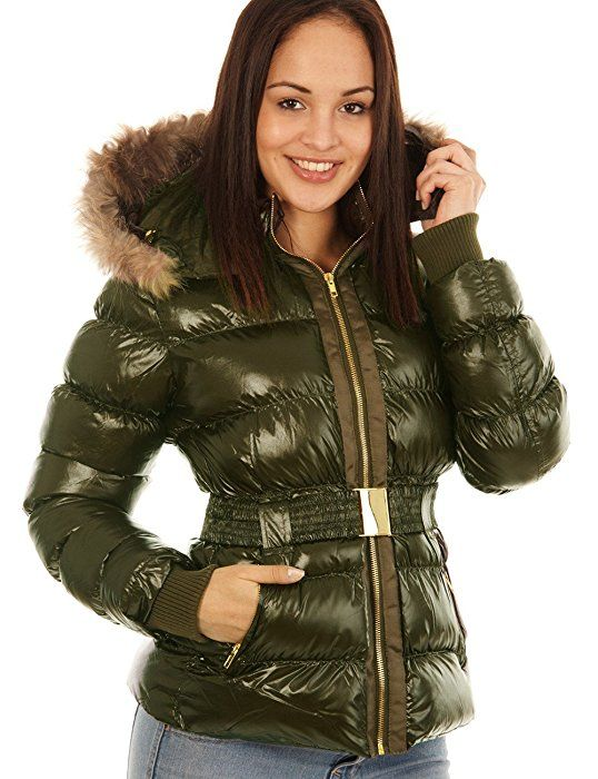 L With Women's Balingi Fur Winter Jacket Ba10274 Shiny Hood MVUGqSzp