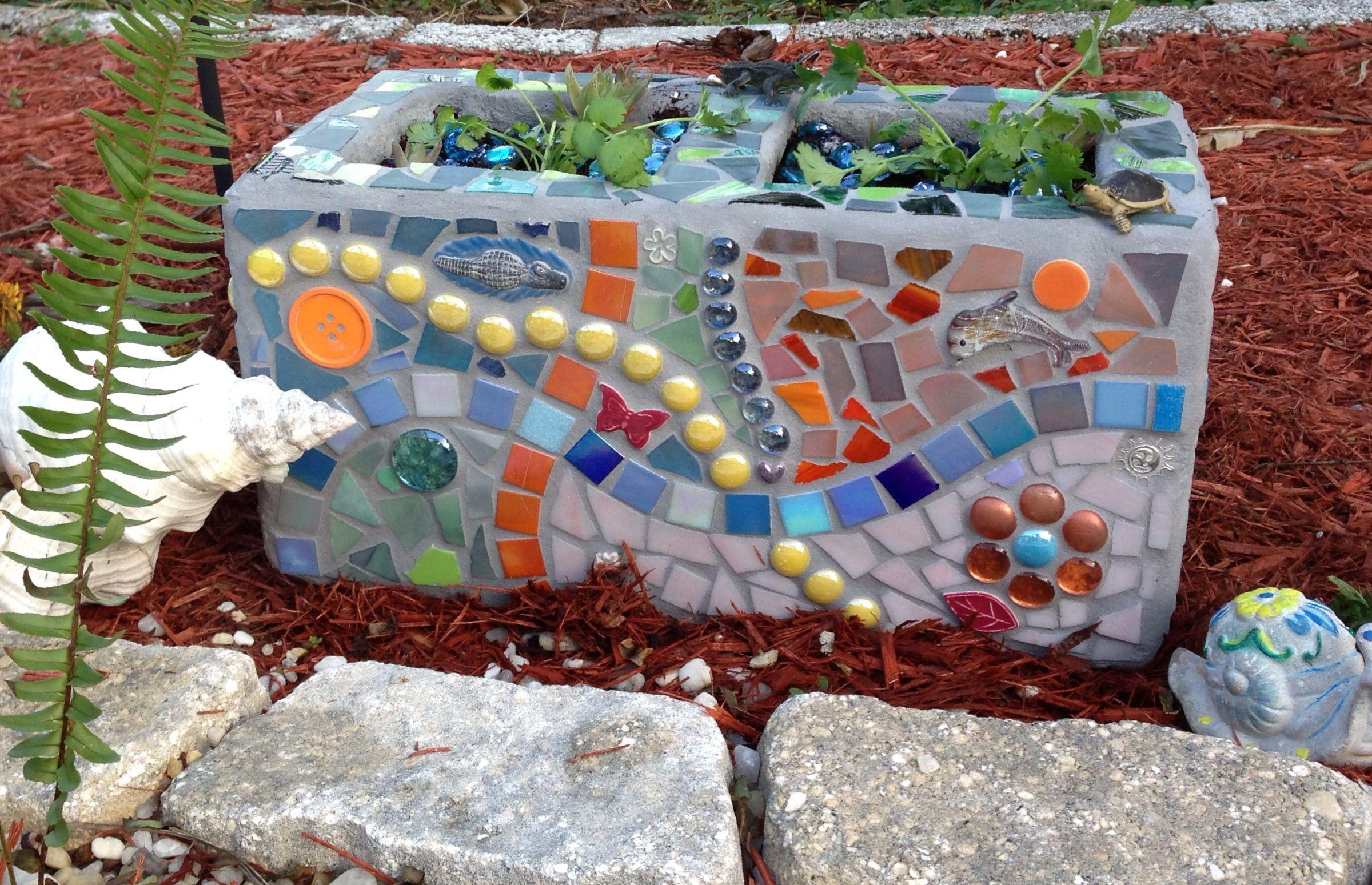 Mosaic Cinder Block Cinder Block Garden Mosaic Garden Mosaic Projects