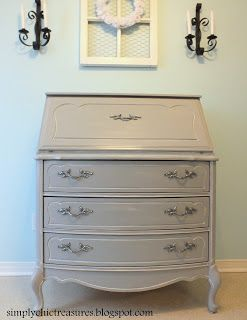 Hmmm I Do Have A Pretty Shabby Looking Secretary Simply Chic Treasures Grey French Provincial Desk