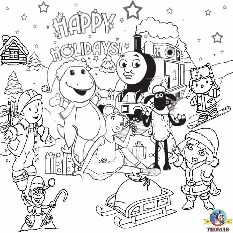 Dora Hello Kitty Bob Builder Barney Thomas Train Free Printable Christmas Coloring Pages To Train Coloring Pages Christmas Coloring Pages Easter Coloring Pages