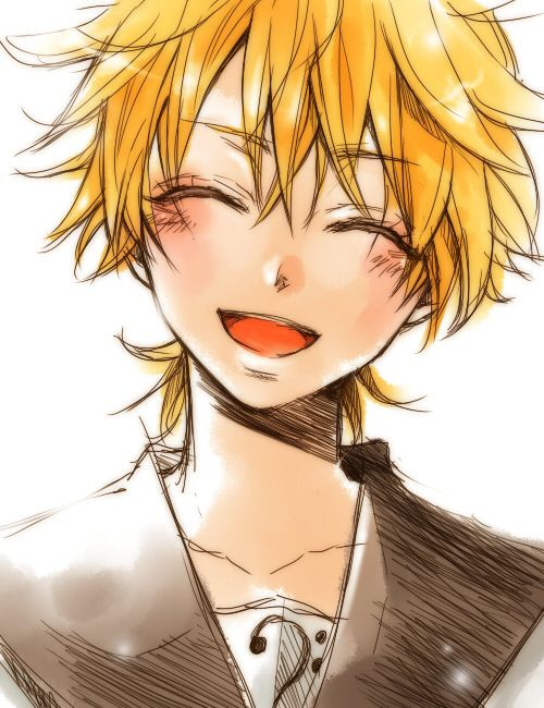 Blonde Hair Closed Eyes Hakuseki Happy Kagamine Len Male Smile Solo Vocaloid Vocaloid Anime Boy Smile Vocaloid Len