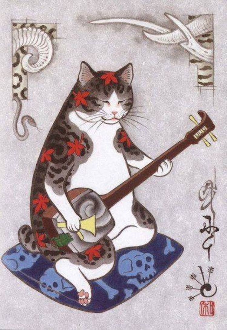 Cats Are Tattooing Other Cats In Surreal Japanese Ink Wash Paintings Cat Illustration Cat Art Cats Illustration
