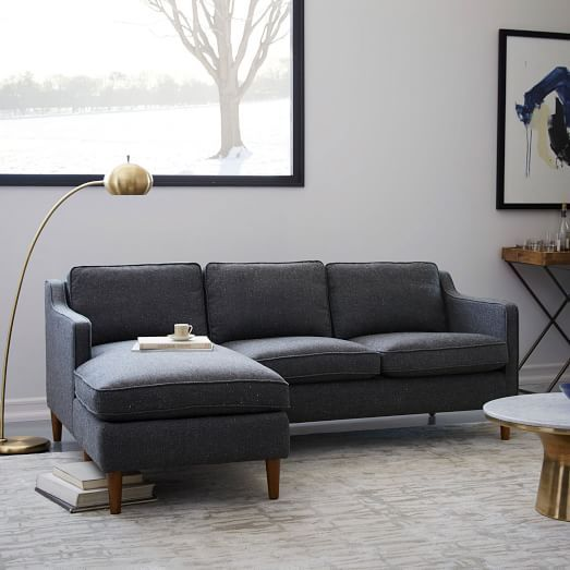 Crosby Set 3- Left Sofa, Right Chaise, Twill, Gravel At West ...