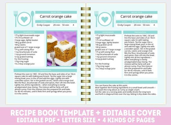 Recipe Book Template Pdf Mint Editable Recipe Book Personalized