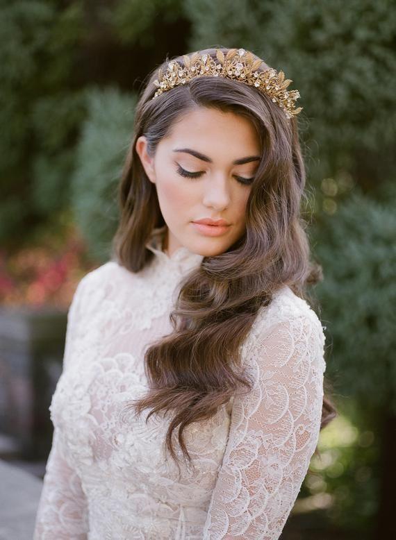 gold bridal crown, gold wedding crown, gold queen crown, bridal headpiece, crystal crown, gold bridal tiara, crystal gold tiara - GLORIA