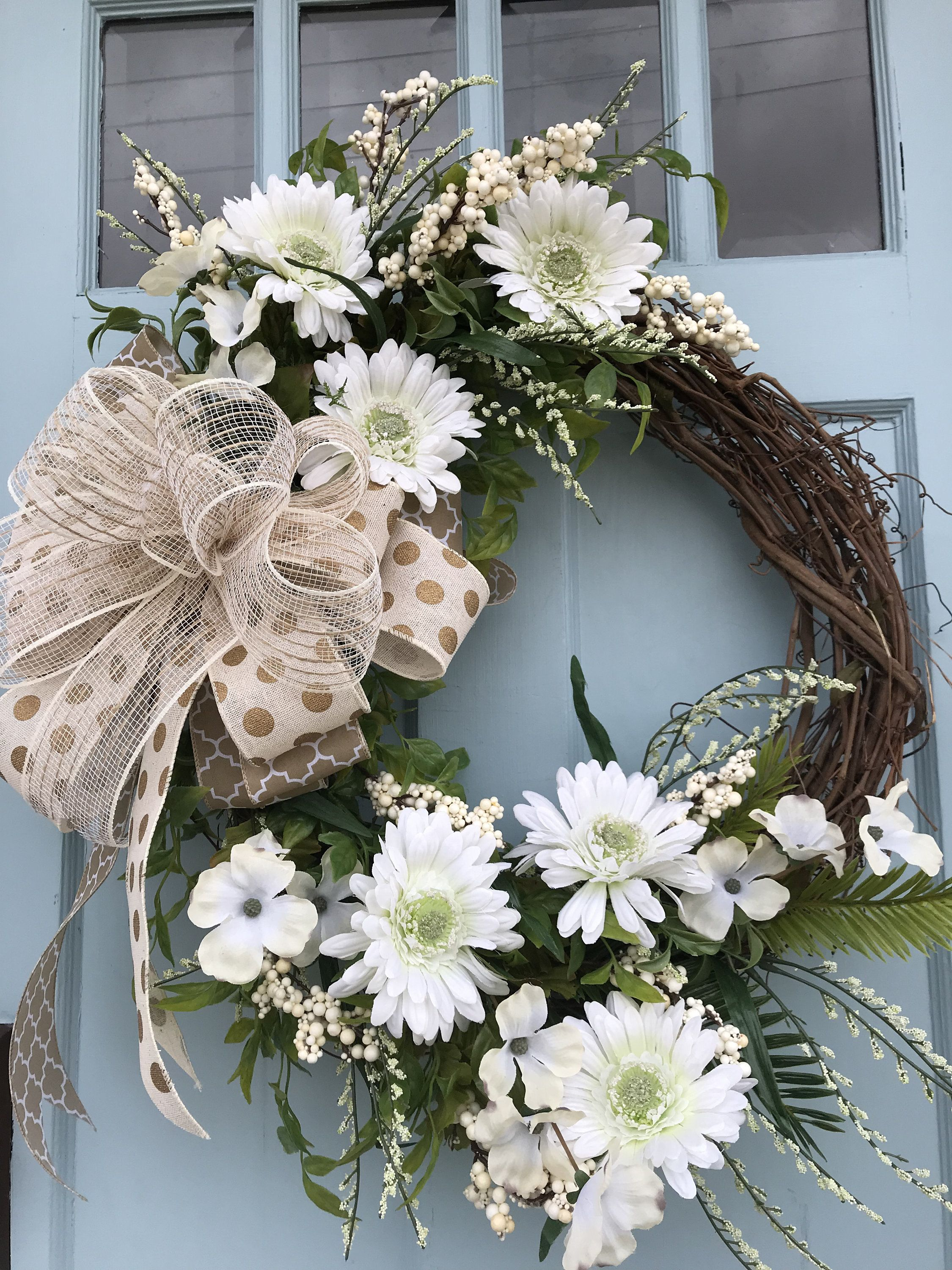 Beautifully Elegant White Floral Grapevine Wreath For Door Wreaths Wreaths For Front Door Farmhouse Christmas Spring Wreath Wreaths For Front Door Door Wreaths Diy