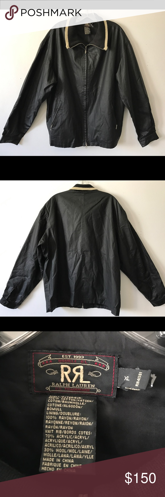 RRL Ralph Lauren Coated Cotton Bomber Jacket XL Excellent condition RRL Ralph Lauren Men's coated cotton bomber jacket with wool blend ribbed  collar. Soft, silky coated cotton in black has a sheen. Fully lined with interior chest pocket. Wool blend ribbed collar has contrast stripe detail in beige. 2 front Zip pockets with YKK silver zipper pulls. Button close cuffs. Size XL. Retail $650 Ralph Lauren RRL Jackets & Coats Bomber & Varsity