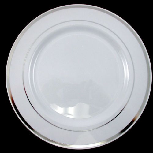 Wedding Party Disposable Plastic Dinnerware Plates round plates w/silver rim 9   sc 1 st  Pinterest & Wedding Party Disposable Plastic Dinnerware Plates round plates w ...