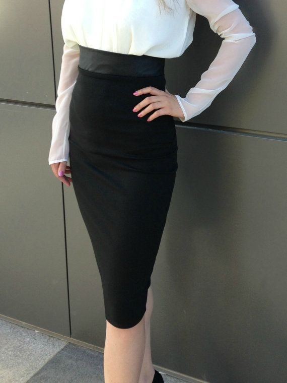 Black Pencil Skirt High Waisted Leather Skirt, Under Knee Tight ...