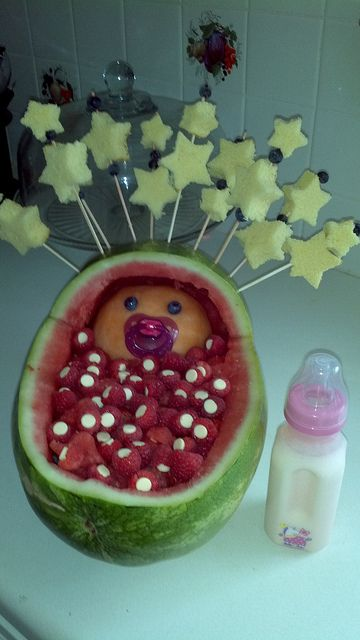 Amazing Baby Shower Fruit Bowl   Put Fruit Dip In The Baby Bottle   Label It Fruit  Dip Google Search