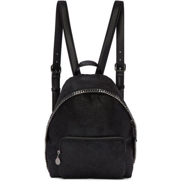 Stella McCartney Black Small Falabella Backpack (£770) ❤ liked on Polyvore featuring bags, backpacks, black, daypack bag, handle bag, animal backpacks, stella mccartney bag and logo bags
