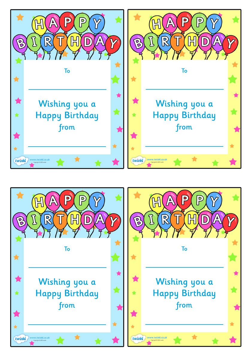 FREE These are birthday certificates for any teacher to give to – Printable Birthday Cards for Teachers