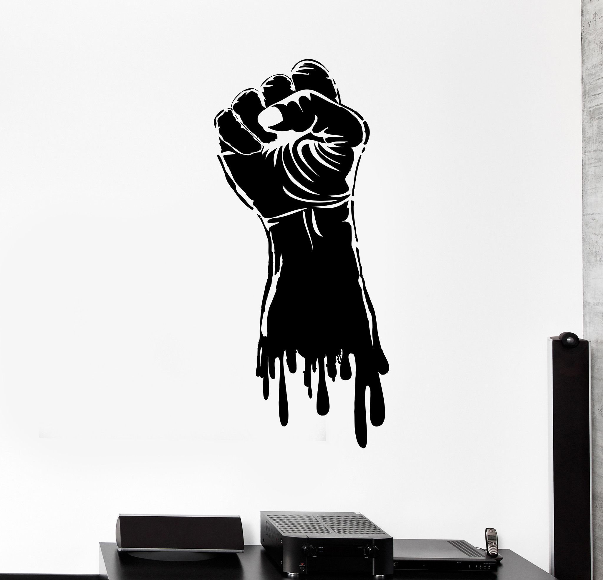 Vinyl wall decal fist hand strength power gym stickers mural 498ig