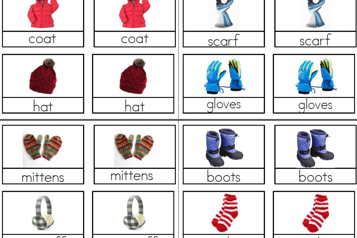 Winter Clothing Montessori 3 Part Cards Winter Preschool Cards Montessori Activities