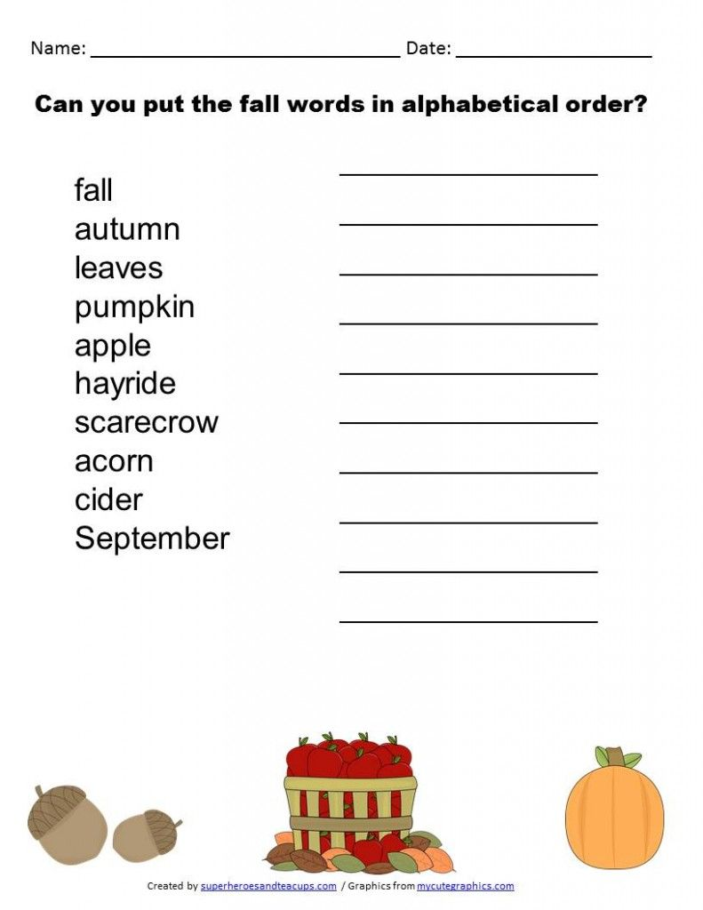 Fall Alphabetical Order Free Printable Superheroes And Teacups Alphabetical Order Worksheets Printable Alphabet Worksheets Free Printable Math Worksheets [ 1024 x 791 Pixel ]