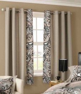 Curtains..mixing plain cheap and expensive print fabric together to save money