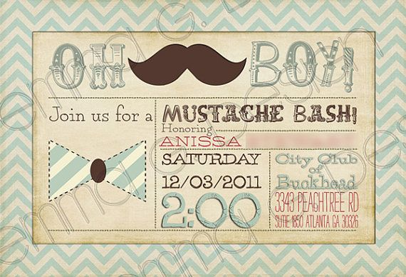 Mustash Bash Baby Shower Invitation Invite by YellowDoorCreative, $30.00  Stash Bash, Mustash Bash, Mustache Bash baby shower. Lil Man, Little Man, Bowtie Baby Shower.