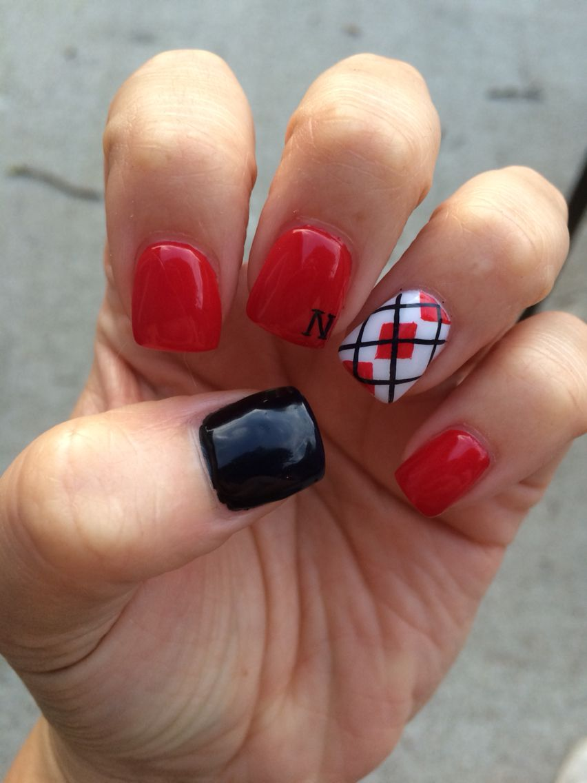 Husker Nails Red White And Black Nails Nail And Toe Designs