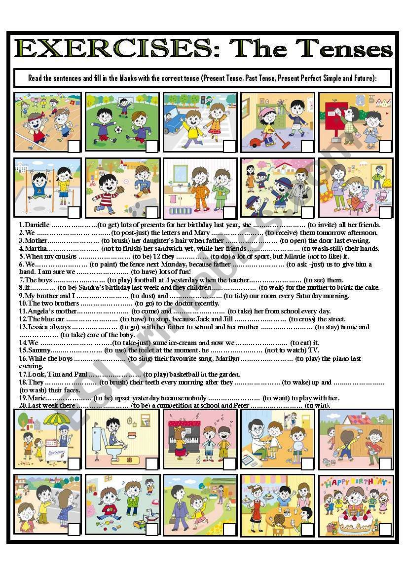 Label The Pictures Then Write The Correct Tense Present Simple