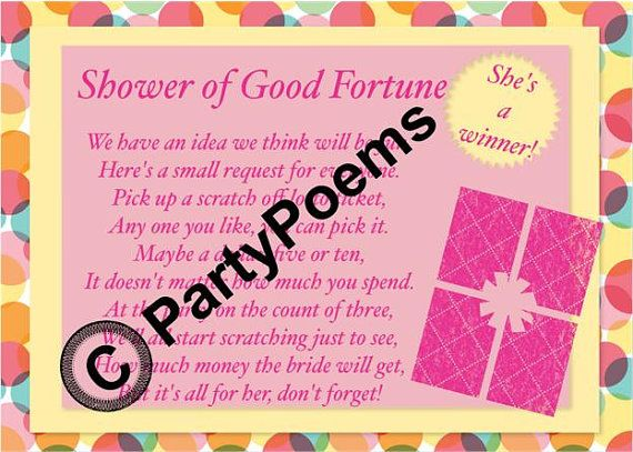 lottery ticket wedding shower lotto ticket bridal shower poem insert to be included with