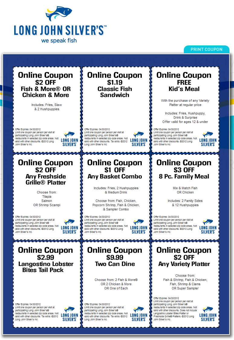 image relating to Long John Silvers Printable Coupons called Distinctive price savings which include free of charge young children evening meal with your entree