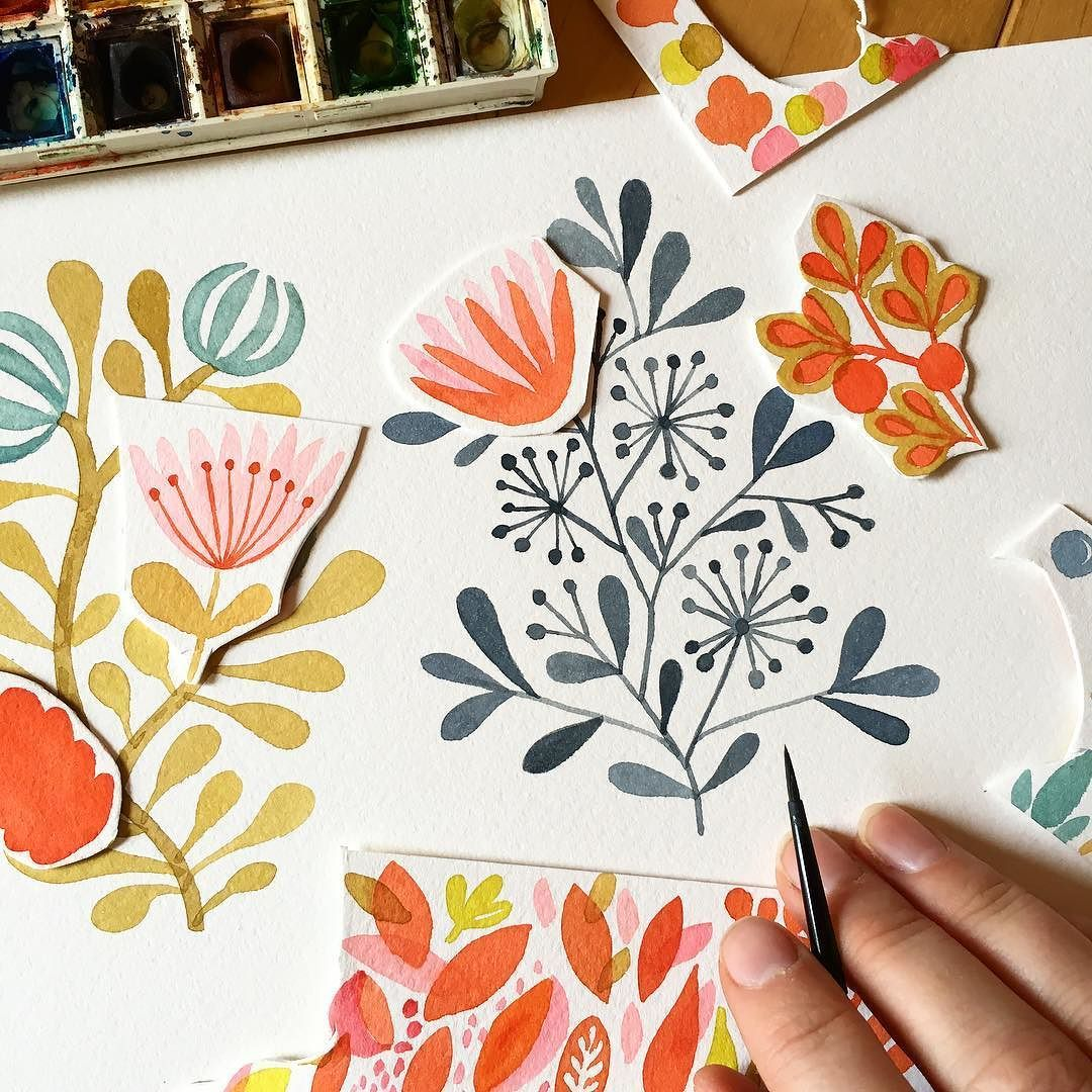 Playing with paint and paper in the studio this afternoon Florals