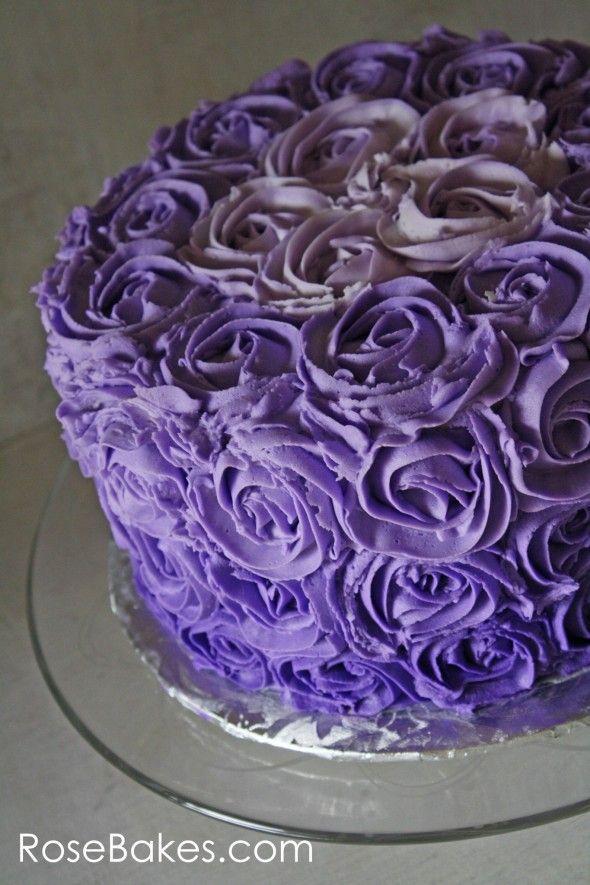 Purple Ombre Buttercream Roses Birthday Cake | Purple ...