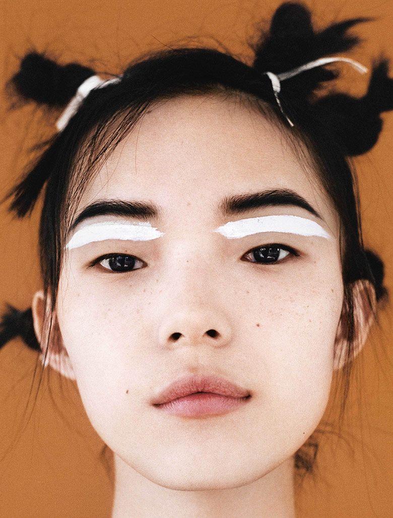 i-D Magazine (Fall 2014) | Model: Xiao Wen Ju. Photographer: Angelo Pennetta. Styling: Poppy Kain. Hair: Luke Hersheson. Make-up: Lucia Pica.