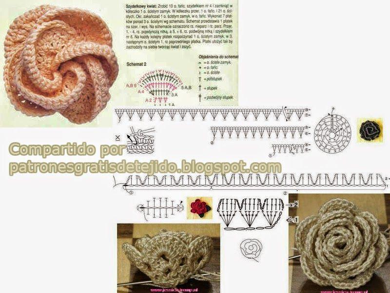 Asombroso Crochet Patrón De Flores Fucsia Viñeta - Manta de Tejer ...
