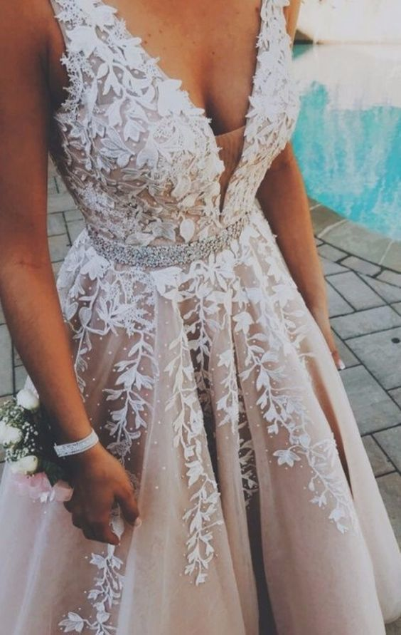 A-Line V-Neck Champagne Tulle Prom Dress #modestprom