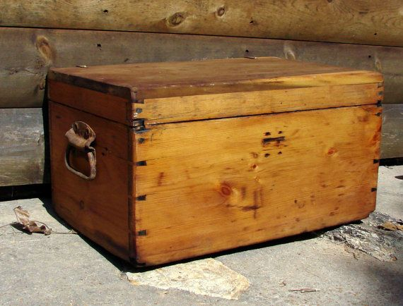 Old Wooden Chest Heavy Duty Iron Handles Antique By Rusticcreek 145 00 Wooden Chest Iron Handles Antique Hinges