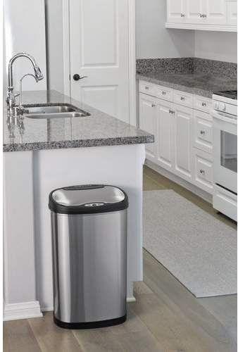 White Kitchens Decor Accents Stars Nine Stars Motion Sensor Trash Can Set