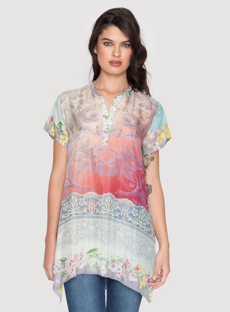 f724bf53ddd29 Johnny Was Nellis Short-Sleeve Printed Silk Tunic Small NWT  JohnnyWas   Tunic  any