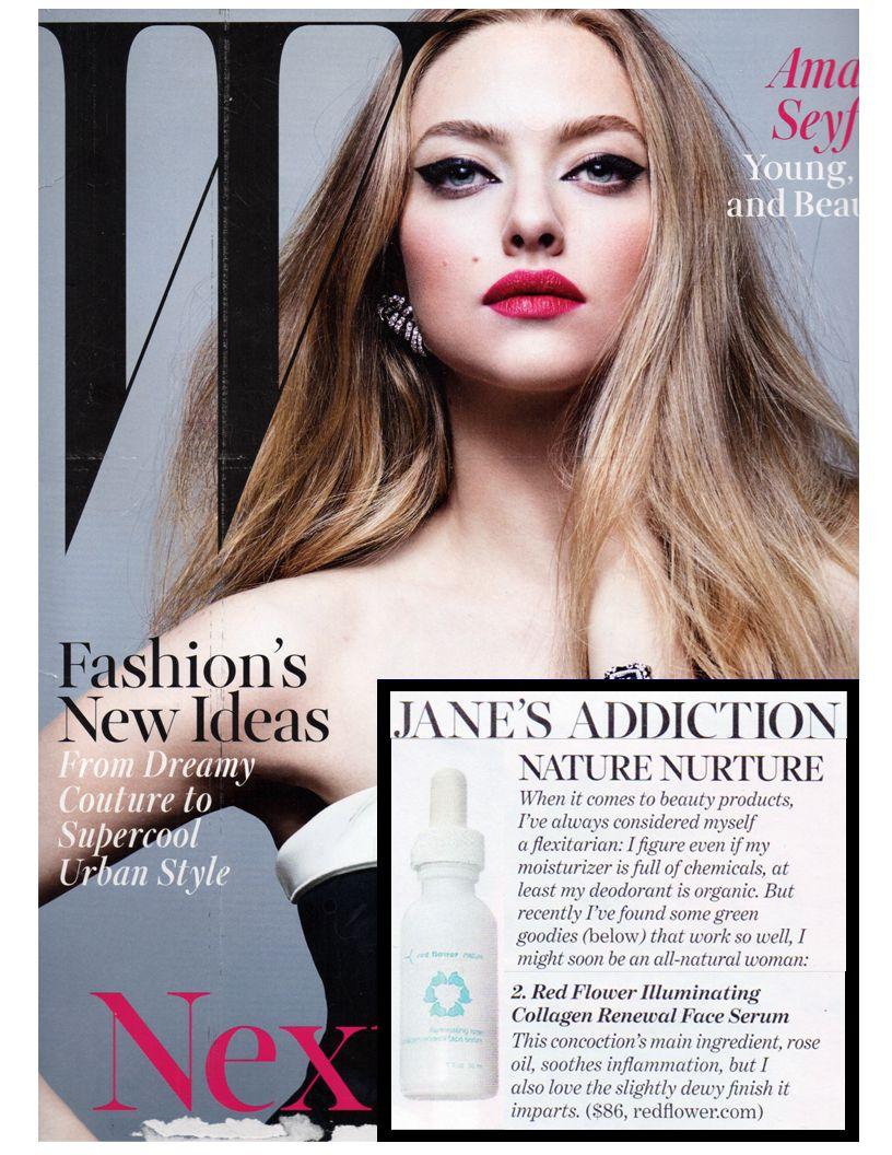 illuminating rose collagen renewal serum featured in W Jane's addiction this month!
