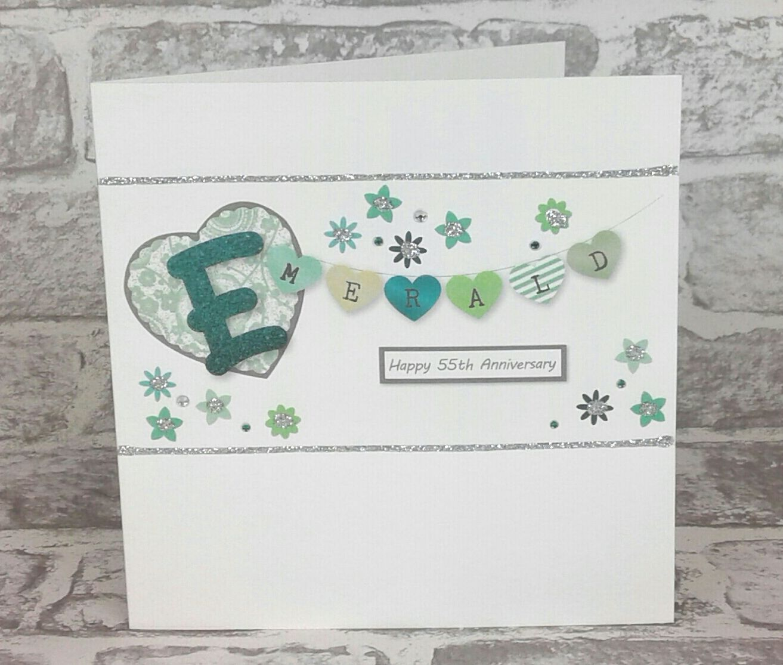55th Wedding Anniversary Card Emerald Anniversary