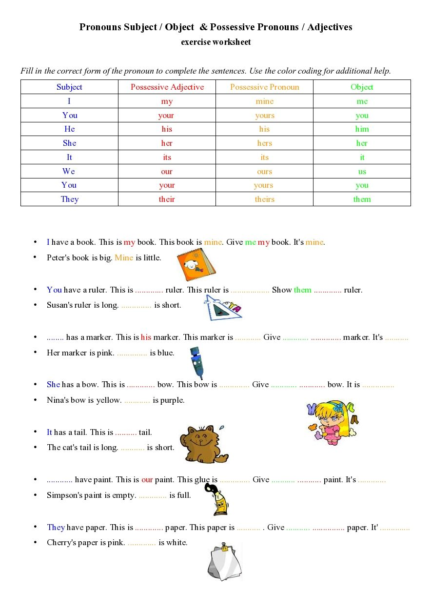possessivepronounsadjectives.jpg (884×1251) Possessive