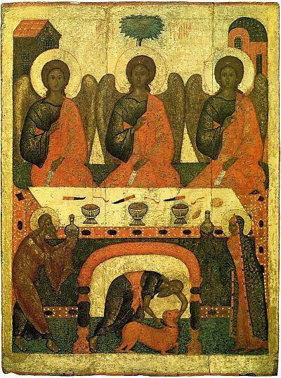 Icons of the Holy Trinity. The Hospitality of Abraham (Old Testament Trinity). Pskov icon. Late XV —early XVI centuries. State Tretyakov Gal...