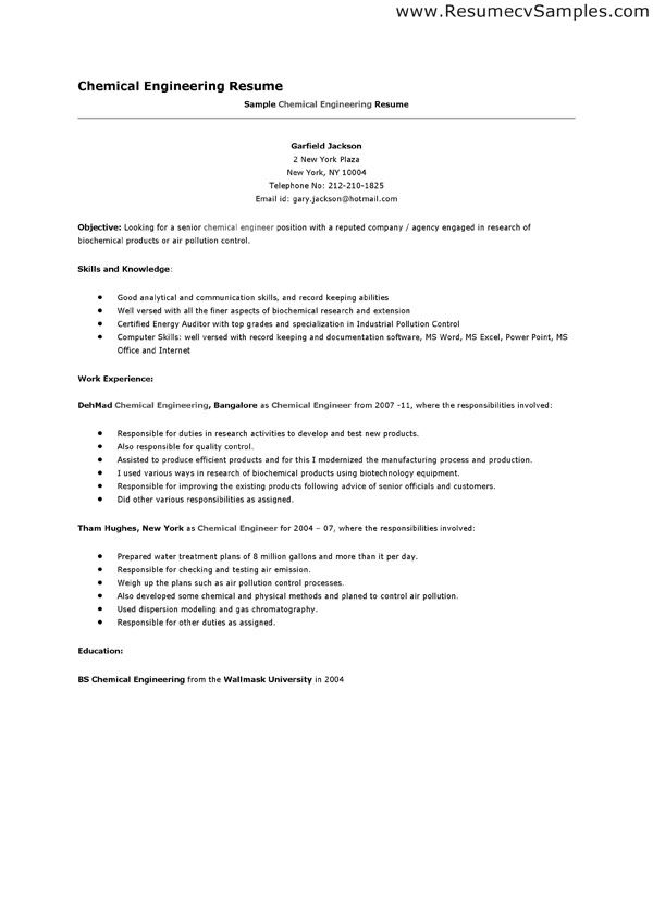 career objective chemical engineer resume inside the web sample - chemical engineering resume