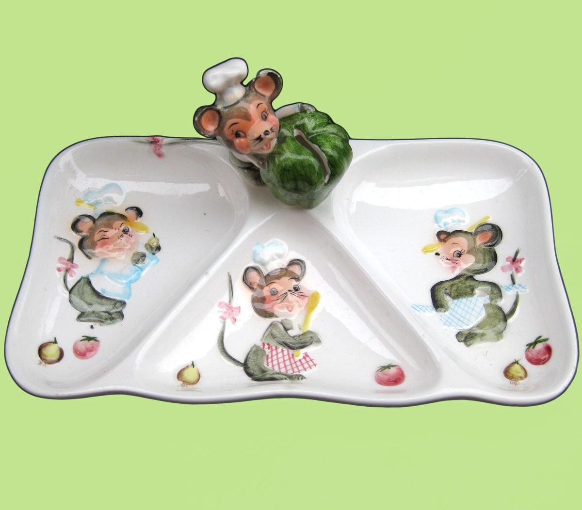 D Lefton - Vintage 50s Sectioned Party Relish Veggie Dish ...
