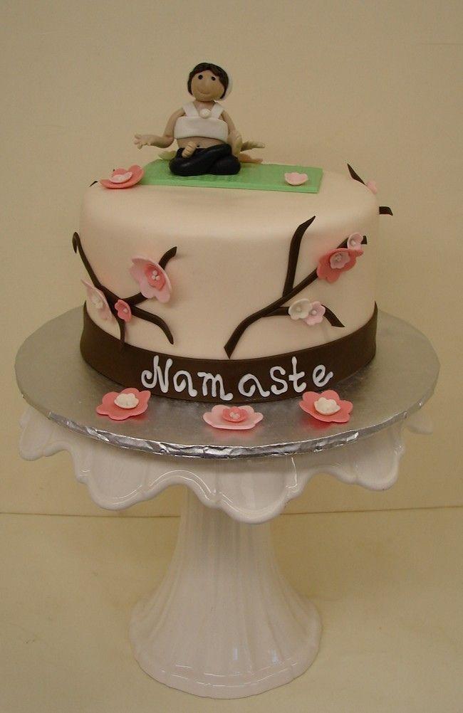 Namaste Yoga Cake with Flowers Namaste yoga Cake and Hand pipes