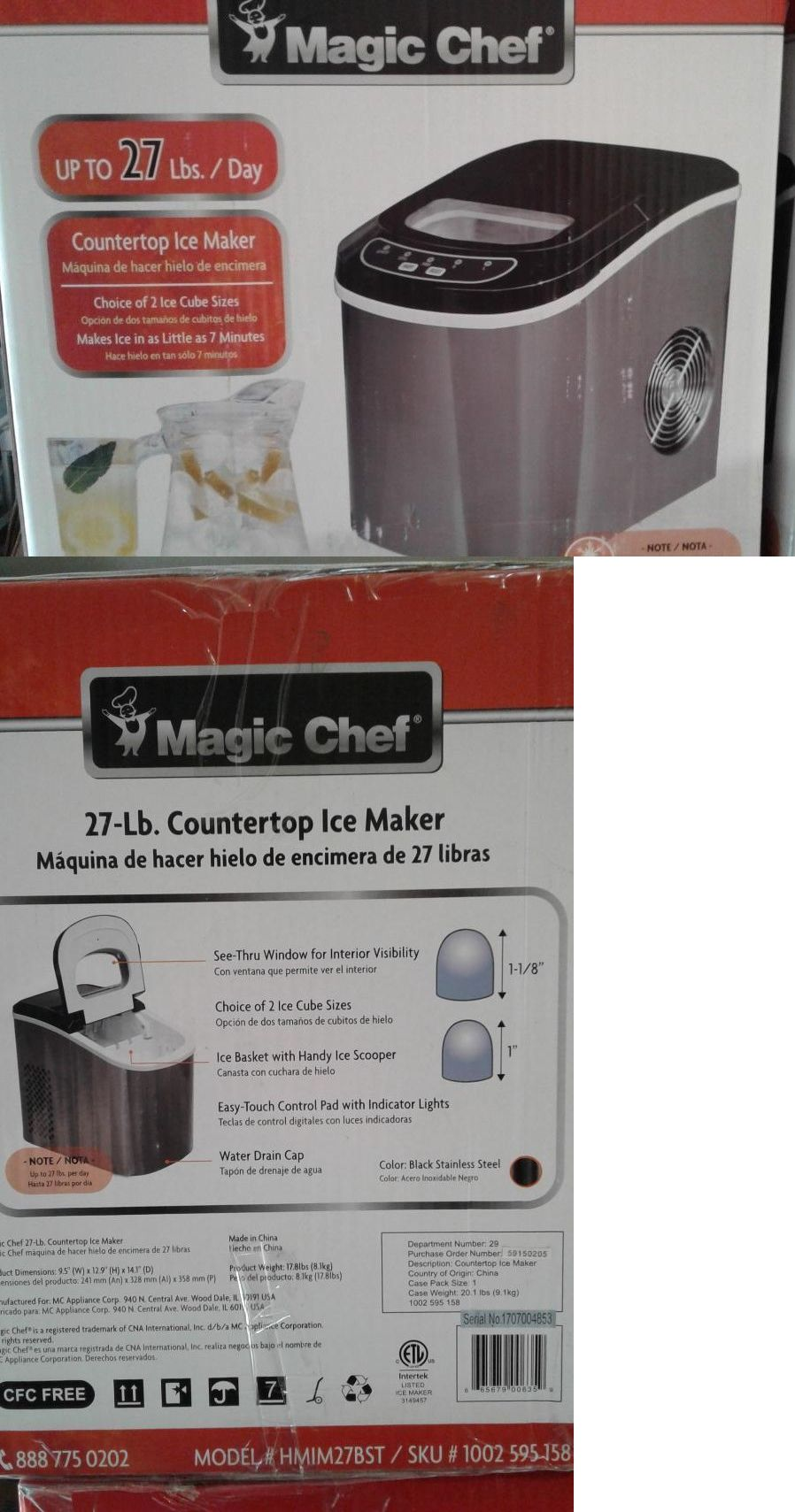 New Magic Chef Hmim27bst 27lb Portable Countertop Ice Maker