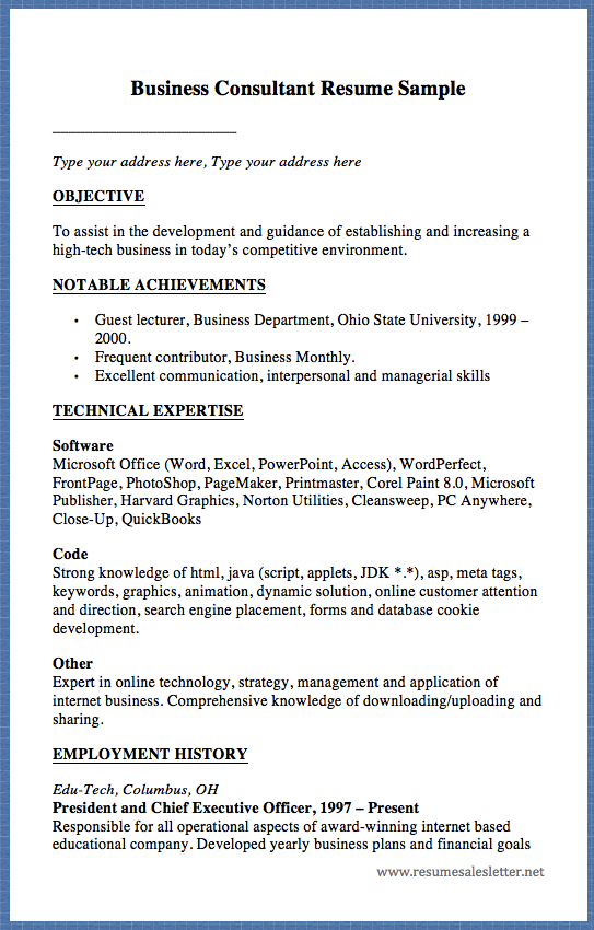 Business Consultant Resume Sample Type Your Address Here Type Your Address Here Objective To Assist In The Development And Guidance Of