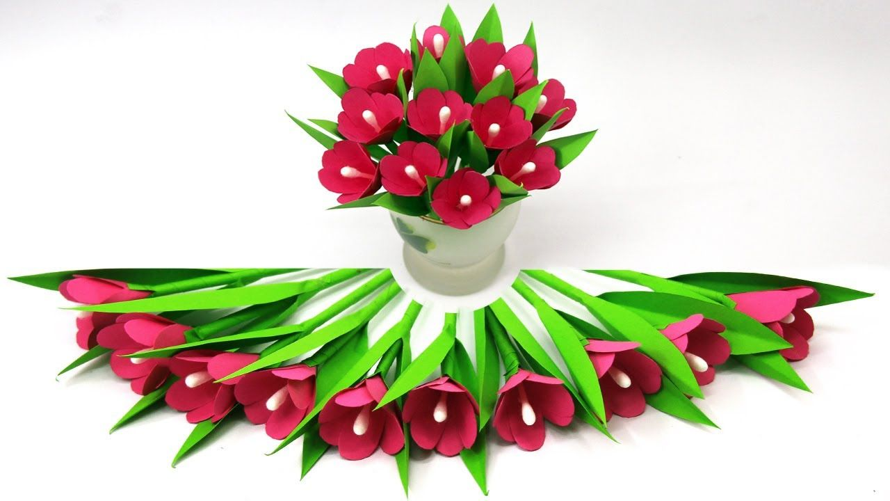 Easy Paper Flower Vase Decoration / How to Make Paper Flower stick /Tiss... #easypaperflowers