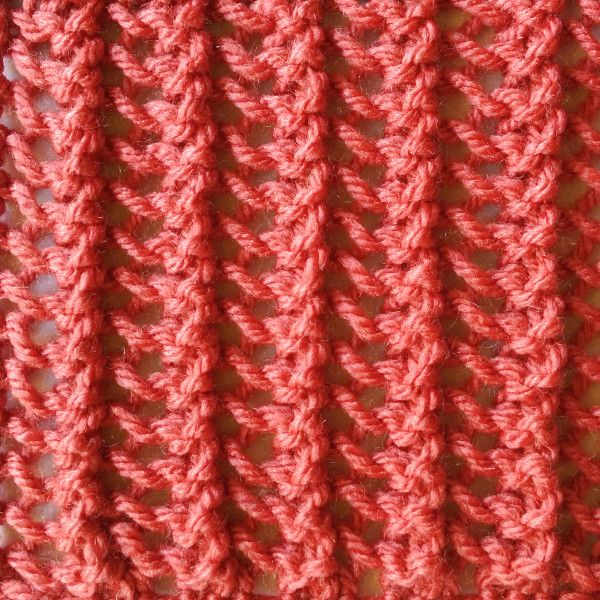 The Simple Vertical Lace stitch is a super easy lace stitch that runs vertically down the work. This lace stitch is a one row repeat and is knitted in a multiple of three stitches.