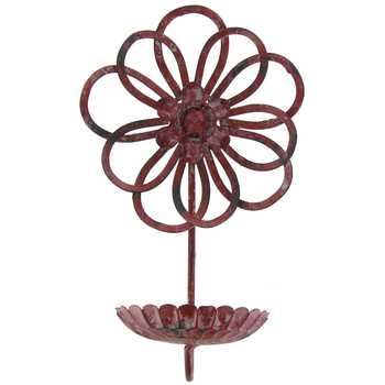 Red Metal Wall Flower Candle Holder | Flower wall, Round ... on Hobby Lobby Wall Candle Sconces Wall Candle Holders id=20517