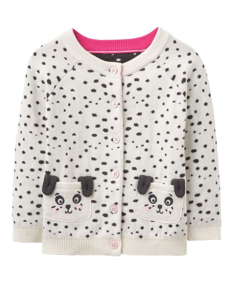 BNWT Joules Baby Infant Girls Cream Dorrie Dalmatians Dog Cardigan Cute Warm