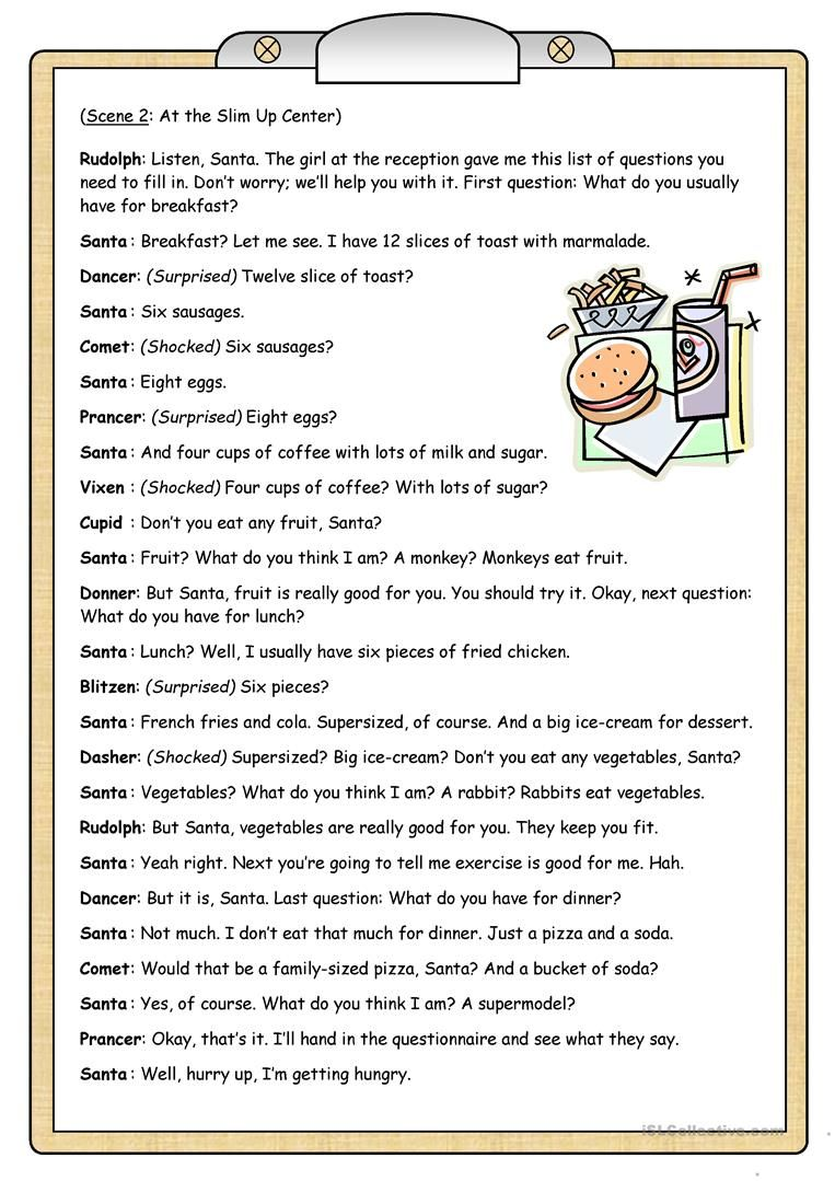 Short Plays 2 Santa S Diet English Esl Worksheets For Distance Learning And Physical Classrooms Play Scripts For Kids Short Play Short Drama Script [ 1079 x 763 Pixel ]