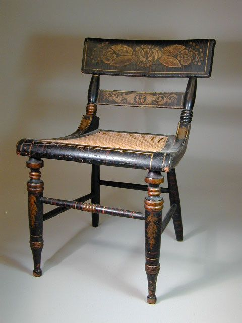 American Federal Paint-Decorated Fancy Side Chair - Baltimore, Maryland -  Circa 1820. - American Federal Paint-Decorated Fancy Side Chair - Baltimore